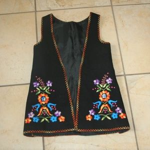 Vintage Boho Hippy Black Wool Embroidered Vest